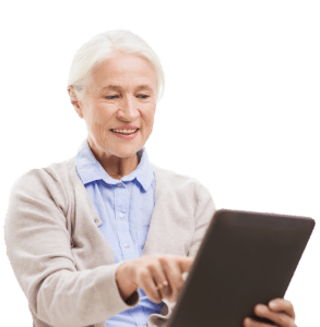 Older Female Patient with tablet no bg copy