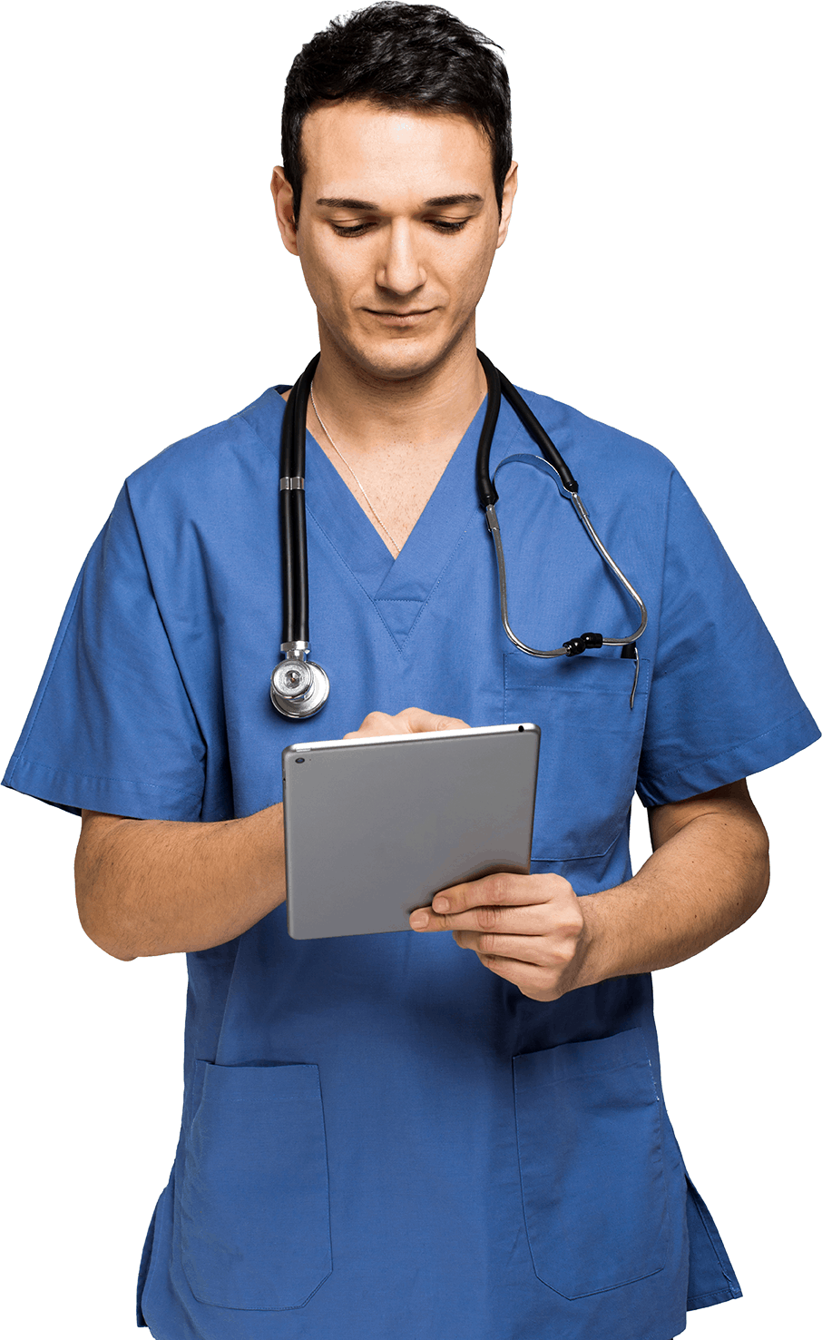 male nurse with tablet no BG